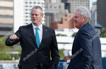 Jeffrey R Immelt, Charlie Baker General Electric CEO Jeffrey R Immelt, right, talks with Massachusetts Gov. Charlie Baker prior to a ground-breaking ceremony at the site of GE's new headquarters, in Boston
