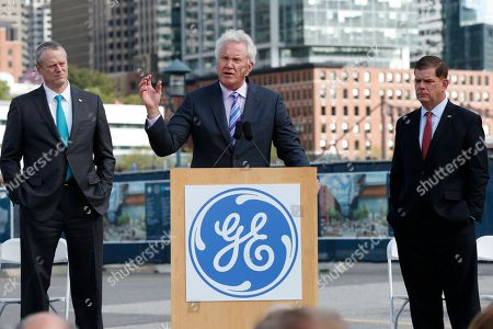 Jeff Immelt, Charlie Baker, Marty Walsh General Electric CEO Jeff Immelt speaks during a groundbreaking ceremony at the site of GE's new headquarters as Massachusetts Gov. Charlie Baker, left, and Boston Mayor Marty Walsh look, in Boston