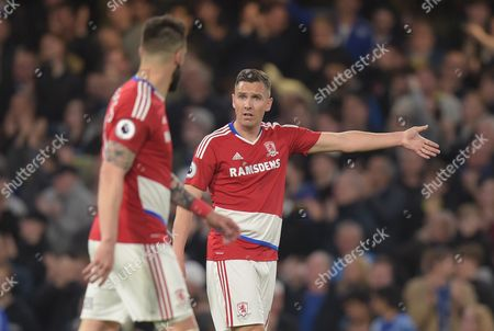 A dejected Stewart Downing of Middlesbrough talks to Alvaro Negredo after the third goal, 3-0, during the Premier League match between Chelsea and Middlesbrough played at Stamford Bridge, London on 8th May 2017