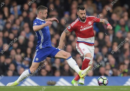 Gary Cahill of Chelsea and Alvaro Negredo of Middlesbrough during the Premier League match between Chelsea and Middlesbrough played at Stamford Bridge, London on 8th May 2017