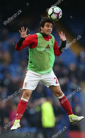 Fabio Da Silva of Middlesbrough  during the Premier League match between Chelsea and Middlesbrough   played at  Stamford Bridge   , London on 8th May  2017