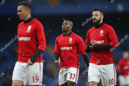 Adama Traore of Middlesbrough and Alvaro Negredo of Middlesbrough warm up during the Premier League match between Chelsea and Middlesbrough played at Stamford Bridge, London on 8th May 2017