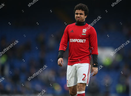 Fabio da Silva of Middlesbrough pulls a face during warm up during the Premier League match between Chelsea and Middlesbrough played at Stamford Bridge, London on 8th May 2017