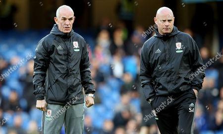 Former Scotland striker Joe Jordan - Middlesbrough Coach (L) with Manager Steve Agnew of Middlesbrough (R)