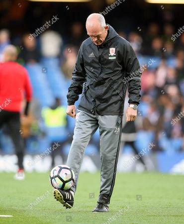Former Scotland striker Joe Jordan - Middlesbrough Coach balances the ball on his foot