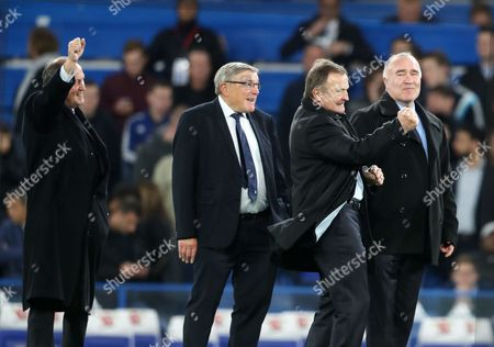 Former Chelsea players l to r Tommy Baldwin Bobby Tambling John Hollins and Ron Chopper Harris wave to Fans at Half Time during the Premier League match between Chelsea and Middlesbrough played at Stamford Bridge s Stadium, London on 8th May 2017