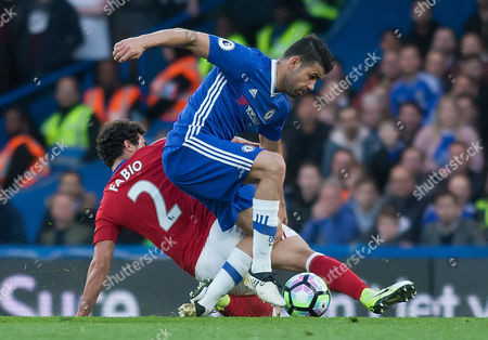 Diego Costa of Chelsea is tackled by Fabio da Silva of Middlesborough, English Premier League, Chelsea v Middlesborough, Stamford Bridge, London England, 8th May 2017