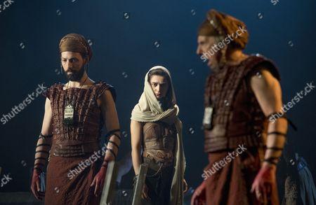 Stock Image of Philip Arditi as Caiaphus, Isabella Nefar as Salome, Raad Rawi as Annas