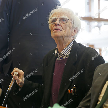 Applicants and members of the party Buendnis90/Die Gruenen in the German parliament, Hans-Christian Stroebele, reacts in a court of the German Constitutional Court to their oral hearing on 'Information of the Parliament on financial market supervision and Deutsche Bahn AG' at the Constitutional Court in Karlsruhe, Germany, 09 May 2017. The Federal Constitutional Court is negotiating a dispute between the members of the German Bundestag and the German Bundestag, Buendnis 90 / Die Gruenen, against the Federal Government.