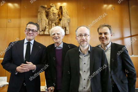 (L-R) Applicants and members of the party Buendnis90/Die Gruenen in the German parliament, Konstantin Notz, Hans-Christian Stroebele, Gerhard Schick, Matthias Gastel pose in a court of the German Constitutional Court to their oral hearing on 'Information of the Parliament on financial market supervision and Deutsche Bahn AG' at the Constitutional Court in Karlsruhe, Germany, 09 May 2017. The Federal Constitutional Court is negotiating a dispute between the members of the German Bundestag and the German Bundestag, Buendnis 90 / Die Gruenen, against the Federal Government.