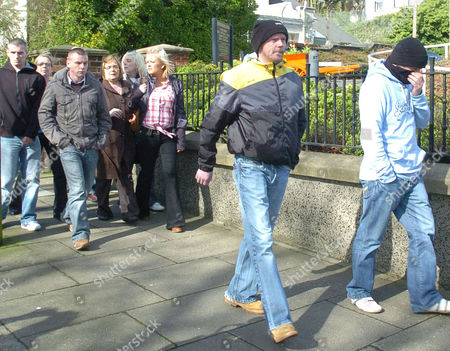 Kevin Barry Murphy (2nd right) leaving with other supporters of Colin Duffy