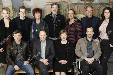 (First row, L-R) German actor Florian Lukas in the role of Martin Kupfer, German actor Uwe Kockisch in the role of Hans Kupfer, German actress Ruth Reinicke in the role of Katja Wiese, German actor Joerg Hartmann in the role of Falk Kupfer (second row, L-R) German actress Lisa Wagner in the role of Katja Wiese, TV and film producer Marc Mueller-Kaldenberg, TV and film producer Regina Ziegler, director Friedemann Fromm, head of television play at MDR TV station, Jana Brandt, editor at MDR TV station, Wolfgang Voigt, and German actress Claudia Mehnert in the role of Nicole Henning pose during a photocall on the set of the fourth season of the German TV series 'Weissensee' in Berlin, Germany, 09 May 2017. In 'Weissensee' the fate of a family from the former GDR, before, during and after the fall of the Berlin Wall is told. The fourth season starts in the spring of the year 1990 just before the first free elections in the last days of the German Democratic Republic. The shooting of season number four takes place in and around Berlin from 20 April 2017 until 26 Juli 2017.
