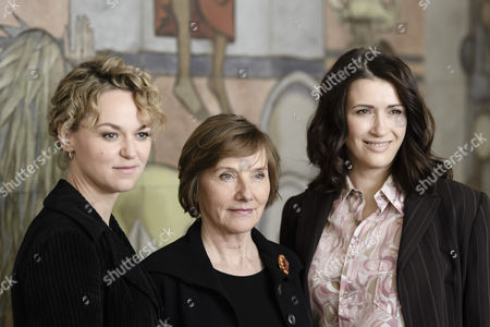 (L-R) German actress Lisa Wagner in the role of Katja Wiese, German actress Ruth Reinicke in the role of Katja Wiese and German actress Claudia Mehnert in the role of Nicole Henning pose during a photocall on the set of the fourth season of the German TV series 'Weissensee' in Berlin, Germany, 09 May 2017. In 'Weissensee' the fate of a family from the former GDR, before, during and after the fall of the Berlin Wall is told. The fourth season starts in the spring of the year 1990 just before the first free elections in the last days of the German Democratic Republic. The shooting of season number four takes place in and around Berlin from 20 April 2017 until 26 Juli 2017.