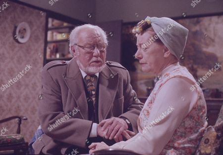 David Scase (as Dr Robert Lowther) and Jean Alexander (as Hilda Ogden)