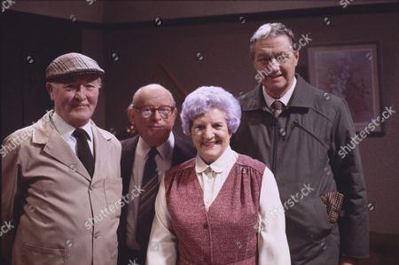 Bill Waddington (as Percy Sugden), Len Marten (as Tom Hopwood), Jill Summers (as Phyllis Pearce) and Tom Mennard (as Sam Tindall)