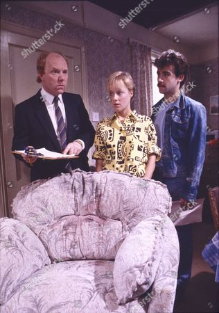 Stock Image of Richard Mapletoft (as Mr Simpson), Sally Dynevor (as Sally Webster) and Michael Le Vell (as Michael Le Vell)