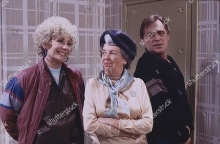 Elizabeth Dawn (as Vera Duckworth) Fanny Carby (as Amy Burton) and William Tarmey (as Jack Duckworth)