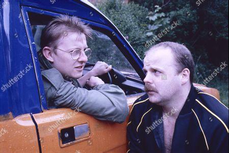 Kevin Kennedy (as Curly Watts) and Rod Arthur (as Luke Bradbury