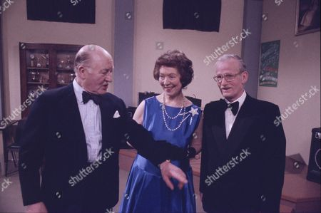 Bill Waddington (as Percy Sugden), Olive Pendleton (as Mrs Prendergast) and Ted Morris (as Mr Prendergast)