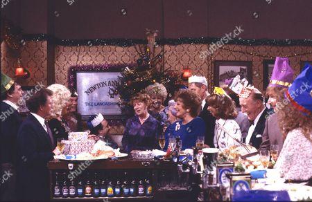 Hilda Ogden's leaving party. Hilda Ogden's leaving party. William Tarmey (as Jack Duckworth), Johnny Briggs (as Mike Baldwin), Julie Goodyear (as Bet Gilroy), Jean Alexander (as Hilda Ogden), Elizabeth Dawn (as Vera Duckworth), Barbara Knox (as Rita Fairclough), Tom Mennard (as Sam Tindall), Helen Worth (as Gail Tilsley), Bill Waddington (as Percy Sugden), William Roache (as Ken Barlow) and Anne Kirkbride (as Deirdre Barlow)