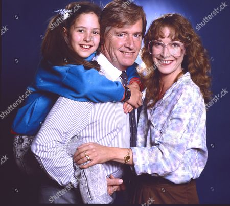 Holly Chamarette (as Tracy Barlow), William Roache (as Ken Barlow) and Anne Kirkbride (as Deirdre Barlow)
