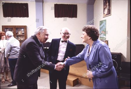 Ivor Roberts (as George Daly), Bill Waddington (as Percy Sugden) and Betty Driver (as Betty Turpin)