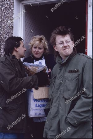 Stock Picture of Nigel Pivaro (as Terry Duckworth), Pat Grainger and Kevin Kennedy (as Curly Watts)