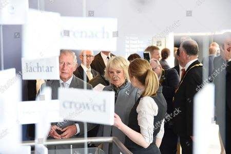 Stock Picture of Prince Charles and Camilla Duchess of Cornwall visit the Seamus Heaney HomePlace arts and literary centre in Bellaghy