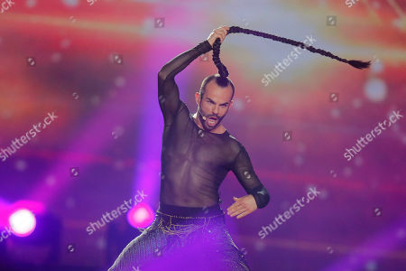 """Slavko Kalezic from Montenegro performs the song """"Space"""" during the first Semifinal for the Eurovision Song Contest, in Kiev, Ukraine"""
