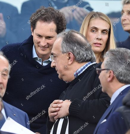 Stock Photo of Exor's Ceo John Elkann (L) with his wife Lavinia Borromeo and the Ceo of Fiat Chrysler Automobiles, Sergio Marchionne (C), attend the UEFA Champions League semifinal second leg soccer match Juventus FC vs AS Monaco at the Juventus Stadium in Turin, Italy, 09 May 2017.