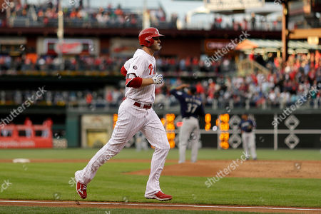 Philadelphia Phillies' Michael Saunders rounds the bases after hitting a two-run home run off Seattle Mariners starting pitcher Ariel Miranda during the first inning of a baseball game, in Philadelphia