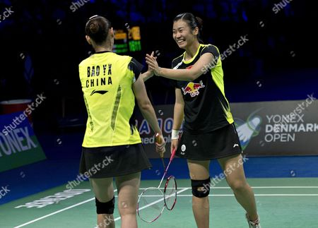 Double Bao Yixin / Tang Jinhua Form China Celebrate Their Victory Against Christinna Pedersen / Kamilla Rytter Juhl From Denmark During the Danish Open Badminton - Final Ladies Doubles in Odense Denmark 20 October 2013 Denmark Odense