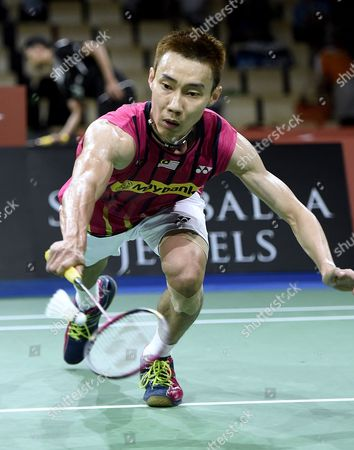 Chong Wei Lee of Malaysia in Action Against Dieter Domke of Germany During Mens Single Match at the Badminton World Championships 2014 in Copenhagen Denmark 27 August 2014 Denmark Copenhagen