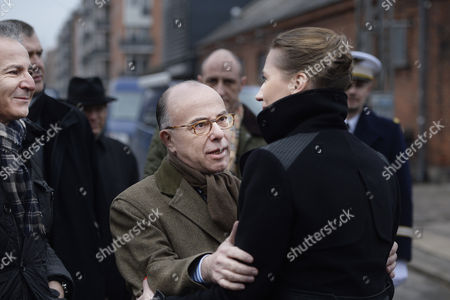 Danish Justice Minister Mette Frederiksen (r) French Interior Minister Bernard Cazeneuve (c) and French Ambassador to Denmark Francois Zimeray (l) Meet at Krudttoenden Cafe where a Terrorist Attack Started in Copenhagen Denmark 15 February 2015 Danish Police Said That a Man They Shot Dead in Copenhagen Earlier in the Day is Believed to Be the Gunman Behind Two Fatal Shootings at an Event Promoting Freedom of Speech and on a Synagogue Denmark Copenhagen