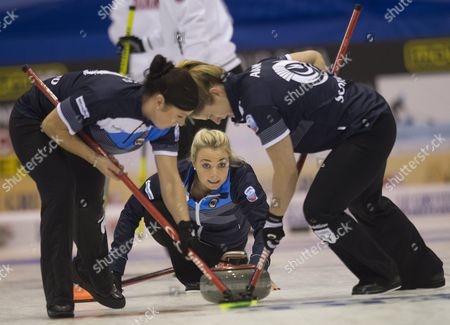 Anna Sloan (c) with Sarah Reid (l) and Victoria Adams (r) From the Scottish National Curling Team on the First Day of the 2015 European Curling Championships in Esbjerg Denmark 20 November 2015 Denmark Esbjerg