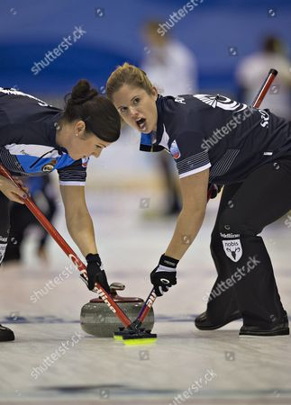 Sarah Reid (l) and Victoria Adams From the Scottish National Curling Team in Action on the First Day of the 2015 European Curling Championships in Esbjerg Denmark 20 November 2015 Denmark Esbjerg