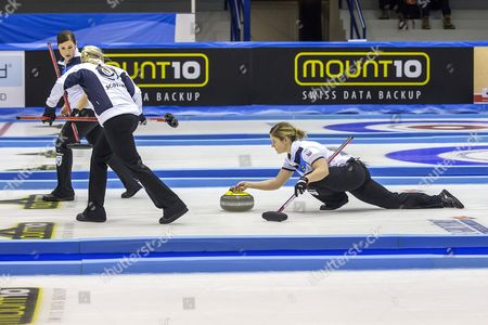 Stock Image of The Women From Left: Scotland Sarah Reid Anna Sloan Vicki Adams During the 2015 European Curling Championships Semi Final Between Finland and Scotland in Esbjerg Denmark 26 November 2015 Denmark Esbjerg