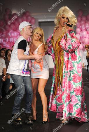 Richie Rich, Pamela Anderson and Drag performer Elaine Lancaster