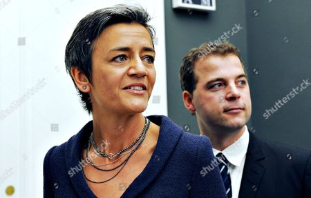 An Undated Picture Made Available on 31 August 2014 Shows Danish Deputy Prime Minister and Minister of the Economy and Interior Margrethe Vestager (l) Followed by Minister For Taxation and Member of the Danish Social Liberal Party Morten Ostergaard (r) in Copenhagen Denmark Denmark's Prime Minister Helle Thorning-schmidt Appointed Vestager to Be New Danish Commissioner in Brussels on Early 31 August 2014 Denmark Copenhagen