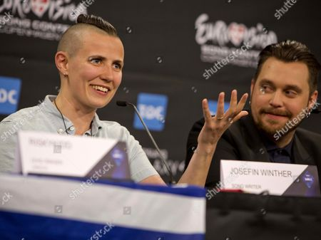 Norwegian Songwriter Josefin Winther (l) and Her Cousin Carl Espen (r) Representing Norway Attend a Press Conference After the Second Semi-final in the Eurovision Song Contest 2014 in Copenhagen Denmark 08 May 2014 Twenty-six Countries Will Take Part in the Grand Finale on 10 May Denmark Copenhagen