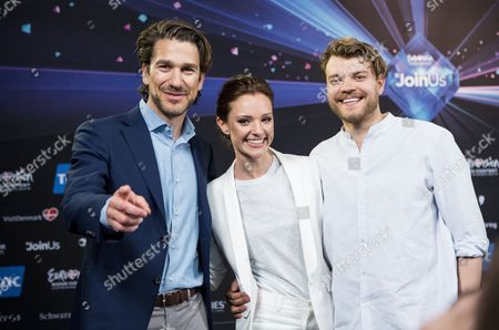 Stock Image of (l-r) Danish Musician Nikolaj Koppel Danish Television Presenter Lise Roenne and Danish Actor Pilou Asbaek the Hosts of the Eurovision Song Contest 2014 Attend a Press Conference in Copenhagen Denmark 04 May 2014 Elaiza Will Represent Germany with the Song 'Is It Right' at the 59th Annual Eurovision Song Contest the Two Semi-finals Will Take Place on 06 and 08 May the Grand Final on 10 May Denmark Copenhagen