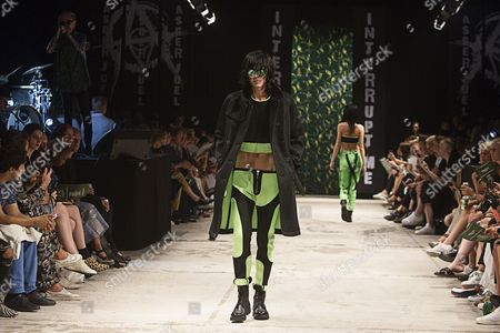 A Model Presents a Creation by Danish Designer Asger Juel Larsen During the Copenhagen Fashion Week 2014 in Copenhagen Denmark 07 August 2014 Spring/summer 2015 Collections Are Presented at the Event From 03 to 08 August Denmark Copenhagen