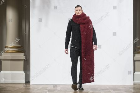 Stock Image of A Model Presents a Creation From the Fall/winter 2015 Collection of Danish Designer Asger Juel Larsen During the Copenhagen Fashion Week in Copenhagen Denmark 28 January 2015 the Fashion Event Runs From 27 January to 01 February Denmark Copenhagen