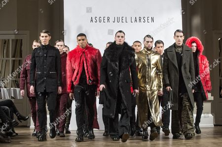 Models Present Creations From the Fall/winter 2015 Collection of Danish Designer Asger Juel Larsen During the Copenhagen Fashion Week in Copenhagen Denmark 28 January 2015 the Fashion Event Runs From 27 January to 01 February Denmark Copenhagen