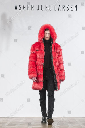 Stock Photo of A Model Presents a Creation From the Fall/winter 2015 Collection of Danish Designer Asger Juel Larsen During the Copenhagen Fashion Week in Copenhagen Denmark 28 January 2015 the Fashion Event Runs From 27 January to 01 February Denmark Copenhagen