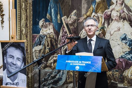 The French Ambassador to Denmark Francois Zimeray Delivers a Speech Before He Hands Over Medals Next to a Photo of Finn Noergaard a Danish Filmmaker Killed by a Jihadi Gunman As the French Authorities Honors Victims of the Terrorist Attacks Posthumously at the French Embassy in Copenhagen Denmark 02 November 2015 Finn Noergaard was Shot Dead on 14 February During a Seminar on Free Speech and Islam by a Jihadi Gunman who Also Killed a Jewish Man Outside a Synagogue in Copenhagen Denmark Copenhagen