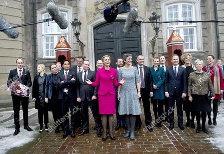 Stock Picture of Danish Prime Minister Helle Thorning-schmidt Presents Her New Government at Amalienborg Copenhagen Denmark 03 February 2014 (l-r) Minister For Transportation Magnus Heunicke Minister For Education Sofie Carsten Nielsen Minister of Justice Karen Haekkerup Minister For Business and Growth Henrik Sass Larsen Minister For Social Equality Integration and Children's Manu Sareen Minister For Trade and Development Mogens Jensen Minister For Foreign Affairs Martin Lidegaard Minister For Housing Urban Rural and Nordic Cooperation Carsten Hansen Prime Minister Helle Thorning -schmidt Minister For Taxation Morten Oestergaard Minister For Climate and Energy Rasmus Petersen Minister For Economy and Interior Margrethe Vestager Minister For Finance Bjarne Corydon Minister For Employment Mette Frederiksen Minister For Health Nick Haekkerup Minister For Defense Nicolai Wammen Minister For Education Christine Antorini Minister For Church and Culture Marianne Jelved Minister For Environment Kirsten Brosboell Pictired in Front of the Royal Palace Amalienborg Note: Minister For Food Dan Joergensen not Present Denmark Copenhagen
