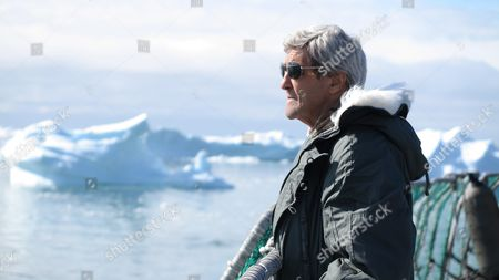Us Secretary of State John Kerry Looks out During a Tour to the Jakobshavn Glacier and the Ilulissat Icefjord Located 155 Miles (250 Km) North of the Arctic Circle in Ilulissat Greenland 17 June 2016 Kerry is in Denmark For a Two Days Visit Greenland Ilulissat