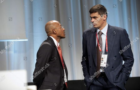 Internationa Olympic Committe (ioc) Members Alexander Popov (r) and Frankie Fredericks (l) Are Seen Before Ioc Meeting in Copenhagen Denmark 07 October 2009 the Second Part of the Session Lasts From 6th to 9th October Denmark Copenhagen