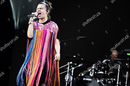 Liliana Saumet of Colombian Band Bomba Estereo Performs at the Orange Stage During Roskilde Festival in Roskilde Denmark 30 June 2016 the Festival Runs From 25 June to 02 July Denmark Roskilde